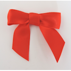 16mm Double Faced Satin Ribbon Bow Colour: Red.