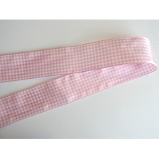38mm Pink Woven Gingham Ribbon