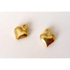 "Solid Metal ""Gold"" Heart Charms."