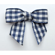Woven Navy Blue Gingham Bow