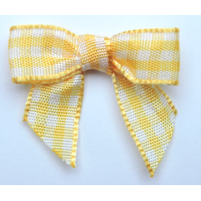 Woven Yellow Gold Gingham Bow