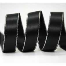 10mm Double Faced Satin Silver Metallic Edge Ribbon Colour: Black