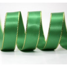 10mm Double Faced Satin Gold Metallic Edge Ribbon Colour: Emerald Green