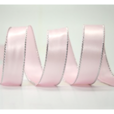 10mm Double Faced Satin Silver Metallic Edge Ribbon Colour: Pink / Silver