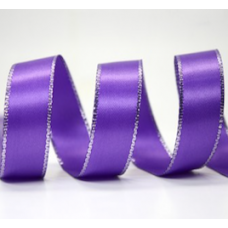 10mm Double Faced Satin Silver Metallic Edge Ribbon Colour: Purple / Silver