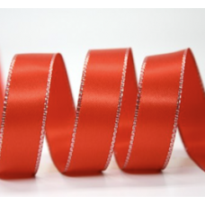 10mm Double Faced Satin Silver Metallic Edge Ribbon Colour: Red