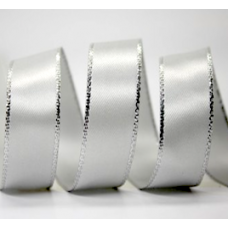 10mm Double Faced Satin Silver Metallic Edge Ribbon Colour: Shell Grey / Silver