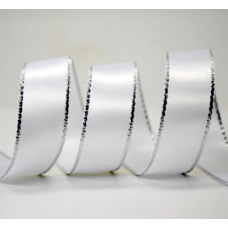 10mm Double Faced Satin Silver Metallic Edge Ribbon Colour: White / Silver