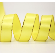 10mm Double Faced Satin Gold Metallic Edge Ribbon Colour: Yellow Gold