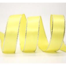 10mm Double Faced Satin Silver Metallic Edge Ribbon Colour: Yellow / Silver