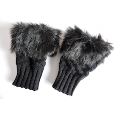Black Fluffy Fingerless Mittens.