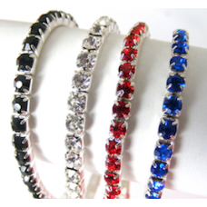 "Single Line Rhinestone Bracelets, 6"" Set of 4."