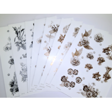 Craft UK Sepia and Monochrome Die-Cut Floral Decoupage Cardstock.