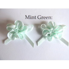 Ribbon Rosette with Bow Trim. Colour: Mint Green.