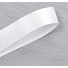 25mm Double Sided Satin Ribbon Col: White