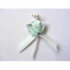 Triple Ribbon Roses with Pearl Trim - Mint Green.