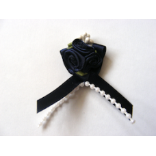 Triple Ribbon Roses with Pearl Trim - Navy Blue.