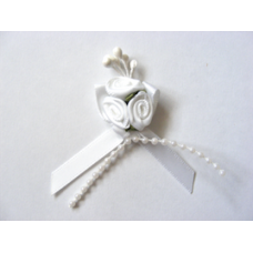 Triple Ribbon Roses with Pearl Trim - White.