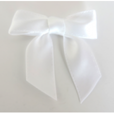 16mm Double Faced Satin Ribbon Bow Colour: White