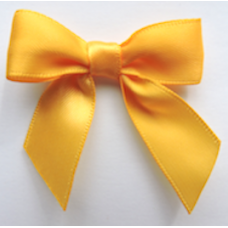 16mm Double Faced Satin Ribbon Bow Colour: Yellow Gold.