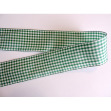 38mm Emerald Green Woven Gingham Ribbon