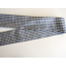 38mm Navy Blue Woven Gingham Ribbon