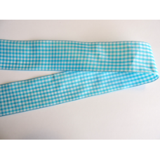38mm Teal Woven Gingham Ribbon