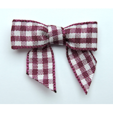 Woven Plum Gingham Bow