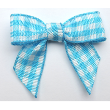 Woven Teal Gingham Bow