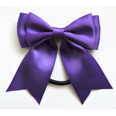 Satin Ribbon Hair Bow, Colour Cadbury Purple