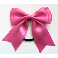 Satin Ribbon Hair Bow, Colour Fuchsia Pink