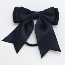 Satin Ribbon Hair Bow Colour Navy Blue