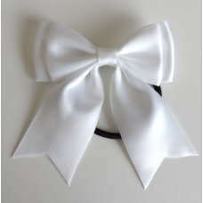 Satin Ribbon Hair Bow Colour White