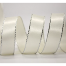 10mm Double Faced Satin Silver Metallic Edge Ribbon Colour: Ivory / Silver