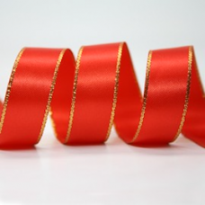 10mm Double Faced Satin Gold Metallic Edge Ribbon Col: Red