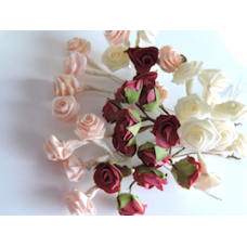 Peach, Cream and Cerise Pink Mini Ribbon Roses.