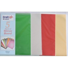 Mirror Board 5 x A4 Sheets. Assorted Colours: