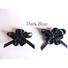 Ribbon Rosette with Bow Trim. Colour: Dark Blue.