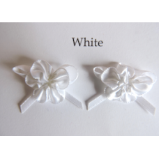 Ribbon Rosette with Bow Trim. Colour: White.
