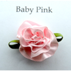 Satin Ribbon Rosette Flowers Colour: Baby Pink.