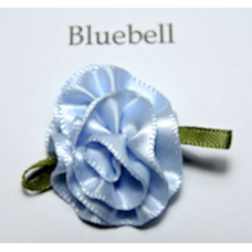 Satin Ribbon Rosette Flowers. Colour: Bluebell.