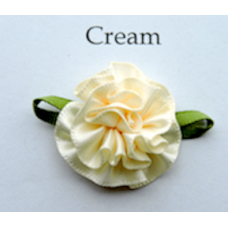 Satin Ribbon Rosette Flower Colour: Cream. x 10