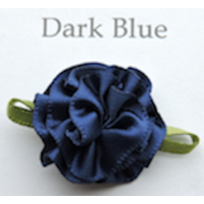 Satin Ribbon Rosette Flowers. Colour: Dark Blue.