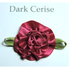 Satin Ribbon Rosette Flowers. Colour: Dark Cerise Pink.