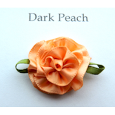 Satin Ribbon Rosette Flowers. Colour: Dark Peach.