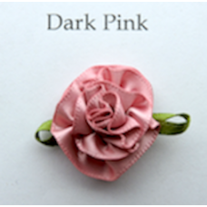 Satin Ribbon Rosette Flowers. Colour: Dark Pink.