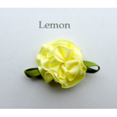Satin Ribbon Rosette Flowers. Colour: Lemon.