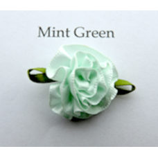 Satin Ribbon Rosette Flowers. Colour: Mint Green.