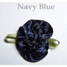 Satin Ribbon Rosette Flowers. Colour: Navy Blue.