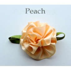 Satin Ribbon Rosette Flowers. Colour: Peach.